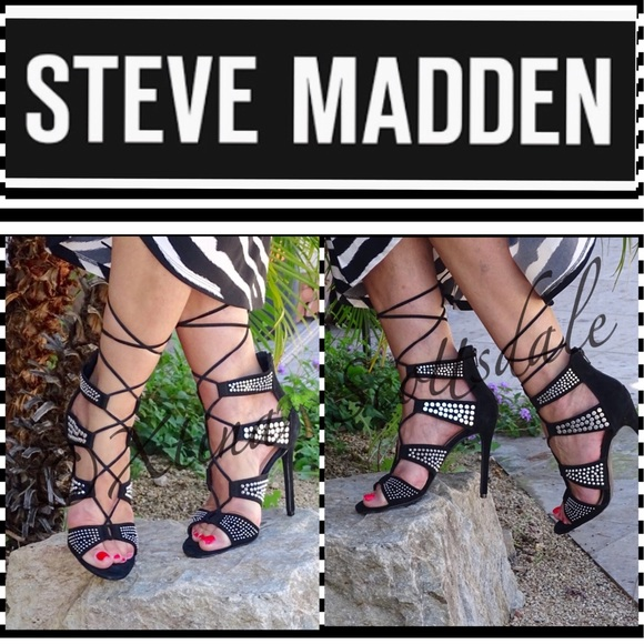 STEVE MADDEN Lace Up Studded Heeled Dress Sandals